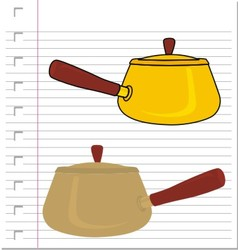 Stew pot with on paper vector