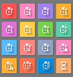 Time set of flat icons vector