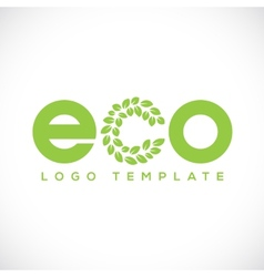 Eco leaf abstract logo template vector