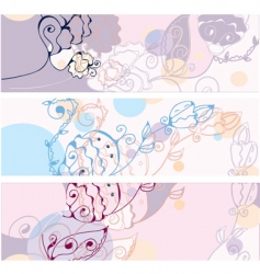 banners floral vector image