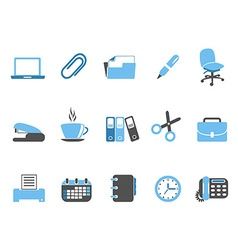 Office tools icon set blue series vector