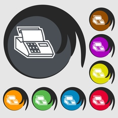 Cash register machine icon sign symbol on eight vector