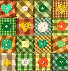 Seamless background of patchworks and buttons vector image