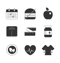 Healthy fitness diet icons set vector