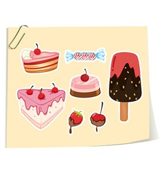 Dessert set cake and icecream vector