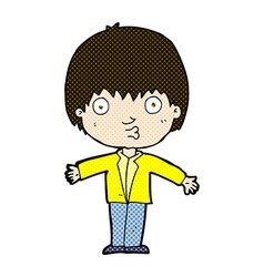 Comic cartoon amazed boy vector