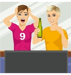 Two young friends watching sports game vector