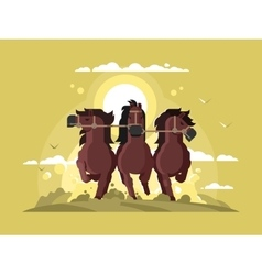 Three horses running vector