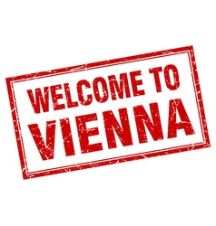 Vienna red square grunge welcome isolated stamp vector