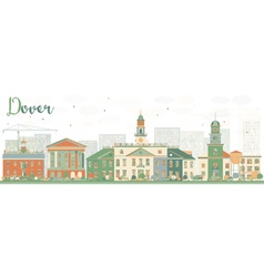 Abstract dover skyline with color buildings vector