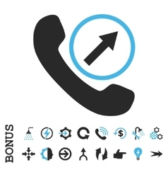 Outgoing call flat icon with bonus vector
