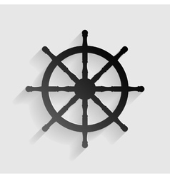 Ship wheel sign black paper with shadow on gray vector