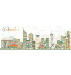 Abstract fukuoka skyline with color landmarks vector