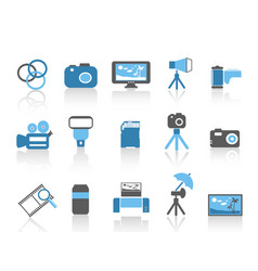 blue color photography element icons set vector image