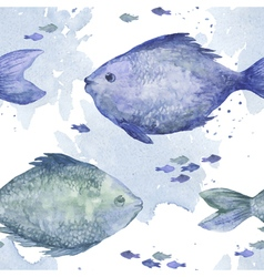 Blue watercolor fish seamless pattern vector