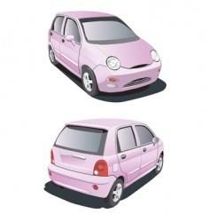 Cartoon pink car vector