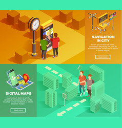 City navigation isometric banners vector
