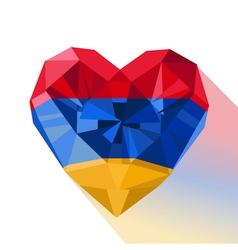 Crystal gem jewelry armenian heart with the flag vector