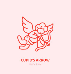 cupid with bow and arrow flat line icon vector image