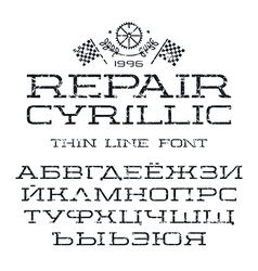 Cyrillic serif font in thin line style texture vector