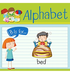 Flashcard alphabet b is for bed vector