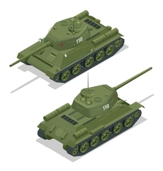 Flat 3d isometric of tank military vector