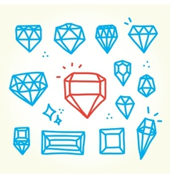 Hand drawn diamonds vector