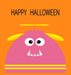 happy halloween card funny monster head vector image vector image