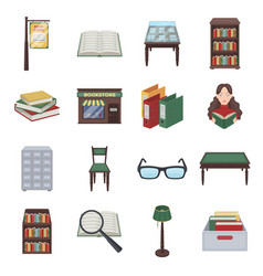 Library and bookstore set icons in cartoon style vector