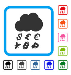 Money rain framed icon vector