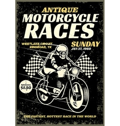 motorcycle race poster in grunge textured style vector image vector image