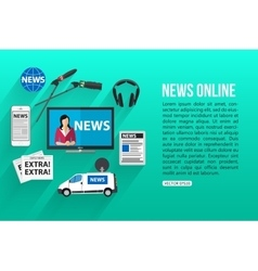 News online flat design concept with place for vector