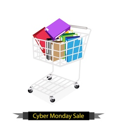 Office folder in cyber monday shopping cart vector