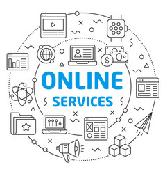 online services linear slide for the vector image