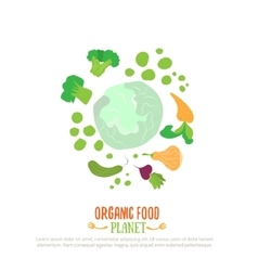 Organic food planet logo for vegan cafe with vector