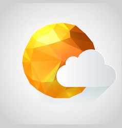 origami paper sun with cloud vector image vector image