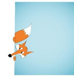 Peeping cartoon fox vector