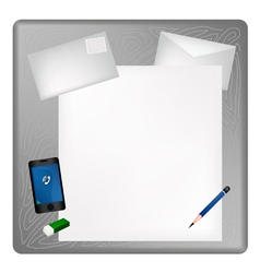 Pencil and Smartphone on Blank Page with Envelope vector image vector image
