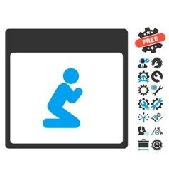 Pray person calendar page icon with bonus vector