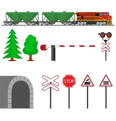 Railroad traffic way and train wagons for vector