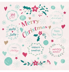 Set of christmas and new years graphic elements vector