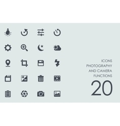 Set of photography and camera functions icons vector