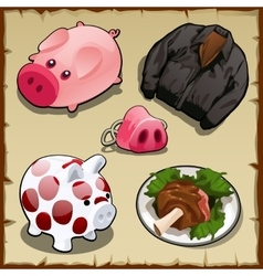 Set symbolism of pigs in different types 5 items vector