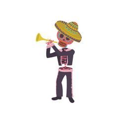skeleton in the mexican national costume playing vector image