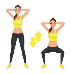 Squats exercise instruction young woman make vector