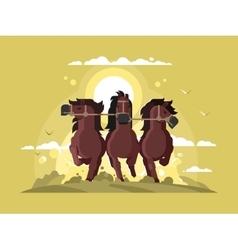 Three horses running vector
