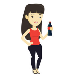 young woman drinking soda vector image vector image