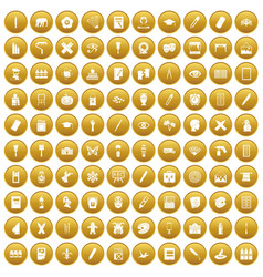 100 paint school icons set gold vector