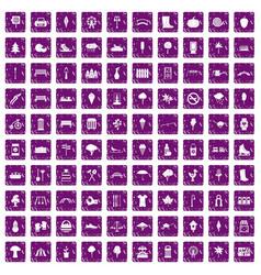 100 park icons set grunge purple vector image vector image