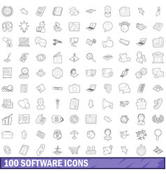 100 software icons set outline style vector image